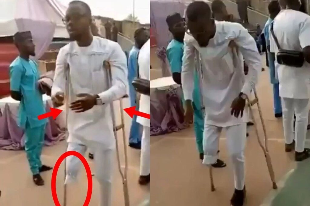 """Disabled Man On Crutches Seen Doing The """"Leg Work Dance"""" While Dancing To Naira Marley's Song (VIDEO)"""