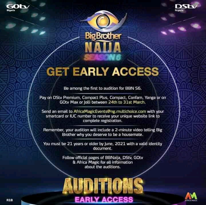 BBNaija 2021: How to apply, Requirements, Audition Date and Venue