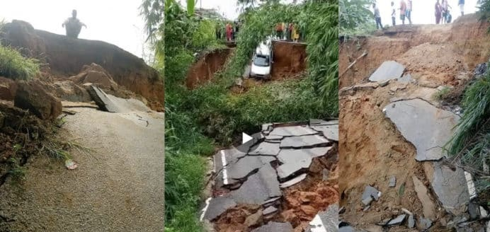 Newly constructed road in the Western Region cracks down