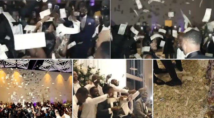 Nigerians react to a video of a wedding reception where only Dollar bills were sprayed (Video)